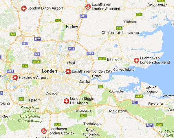 vliegveld londen map